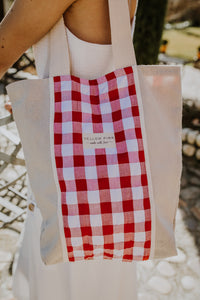 Red Gingham Tote Bag