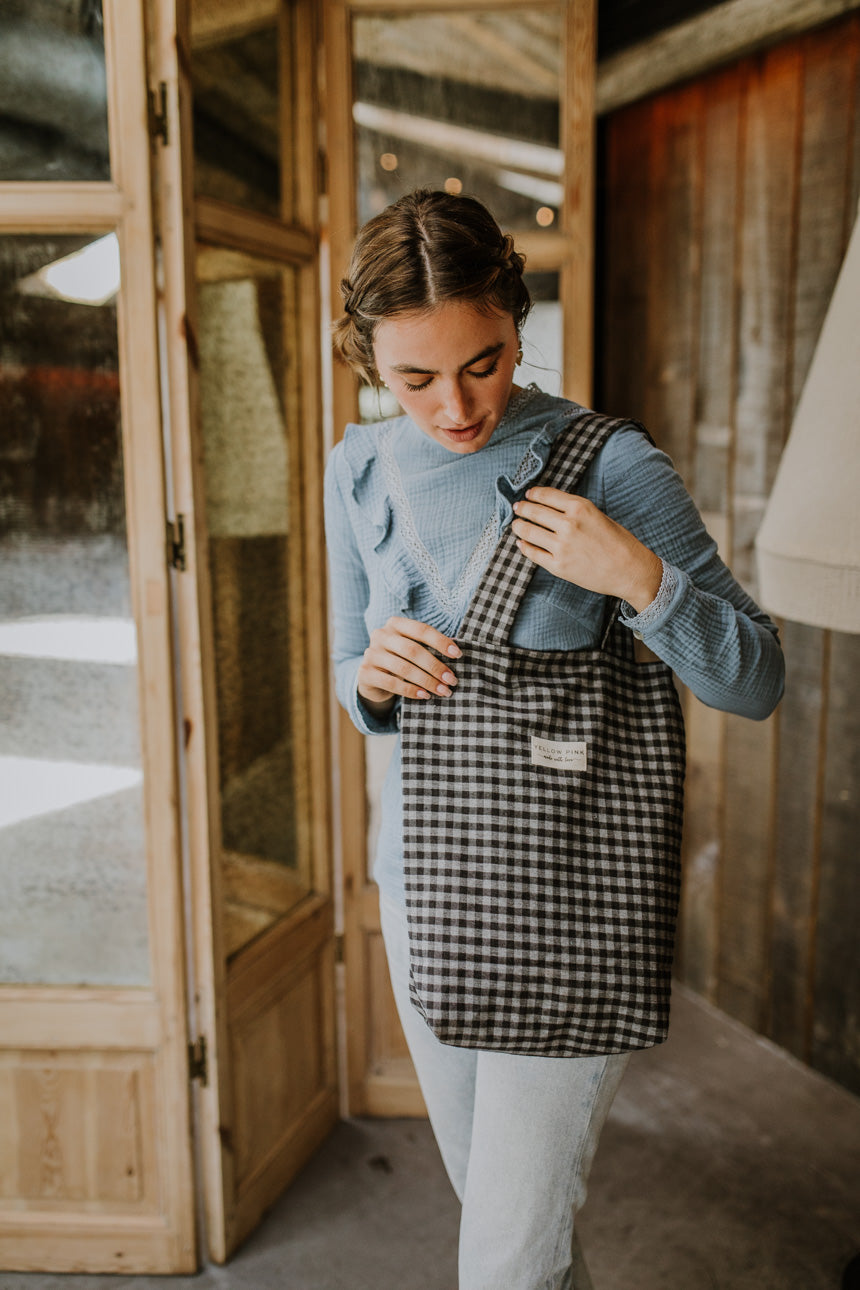 Black Grey Vichy Tote Bag
