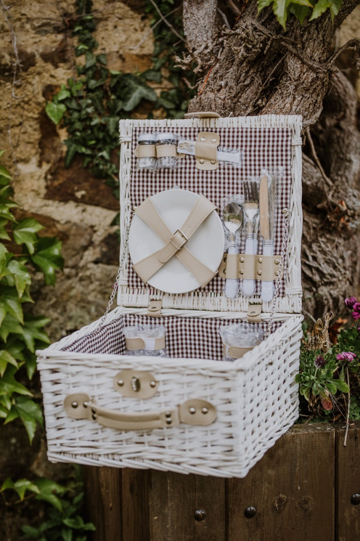 White, Chocolate Gingham Picnic Basket