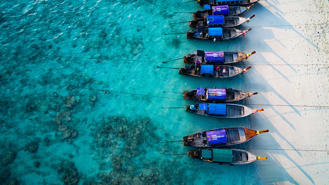 Thailand Longtail Boats_Over Head by Drone