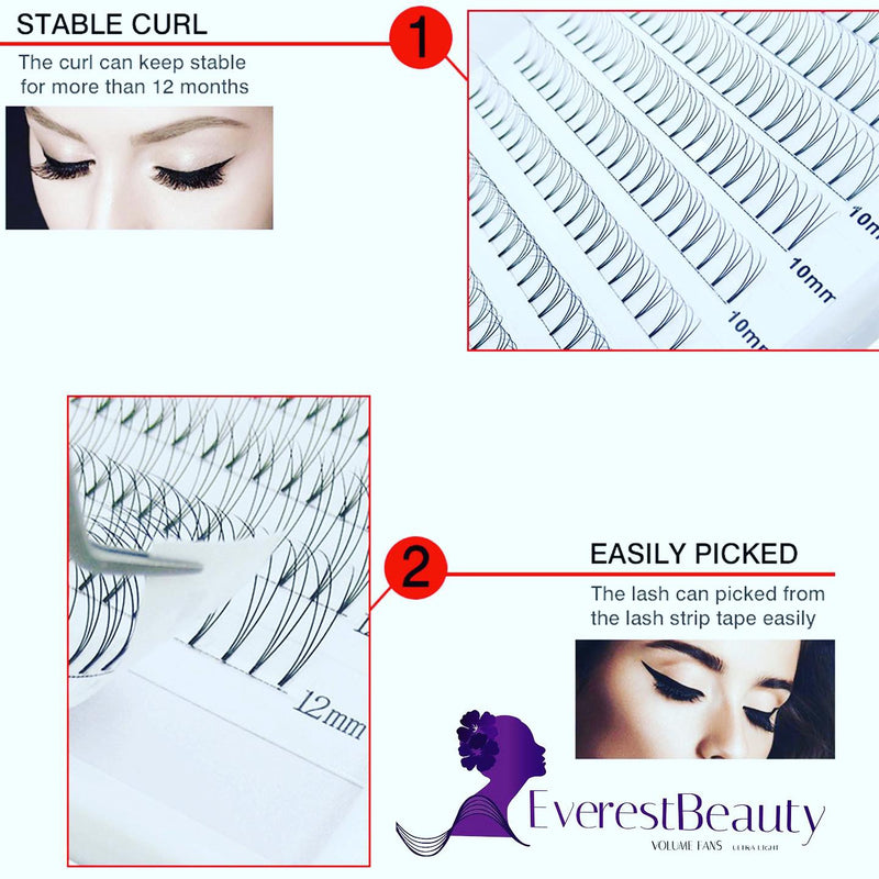 PRE MADE RUSSIAN VOLUME FAN LASHES 0.12 5D MINK EYELASHES EXTENSIONS C D CURL