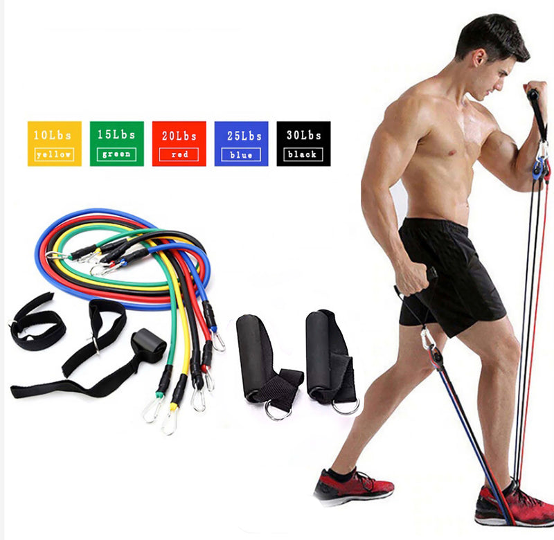 Resistance Bands Weights Home Fitness Training Gym Workout 11 Pcs Set