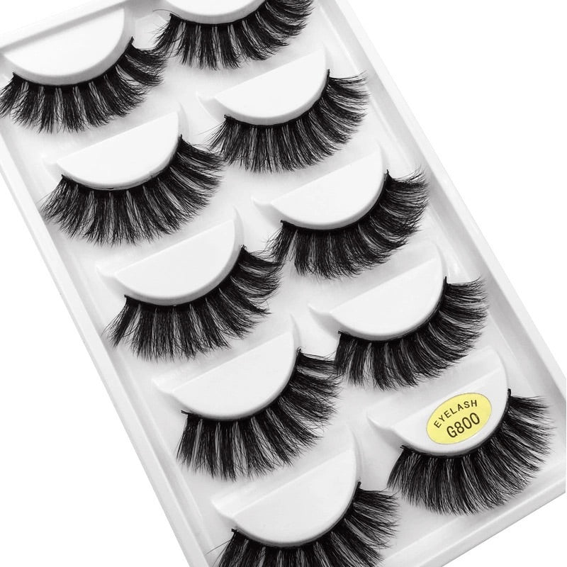 NEW 5Pair 3D Mink False Eyelashes Wispy Cross Long Thick Soft Fake Eye Lashes