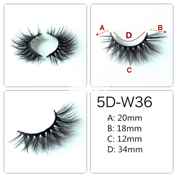 5 Pairs False Eyelashes Long Thick Natural Fake Eye Lashes Set Mink Makeup(W36)