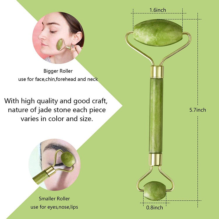Jade Face Massage Roller Beauty Tool Facial Eye Neck Body Anti Ageing Therapy