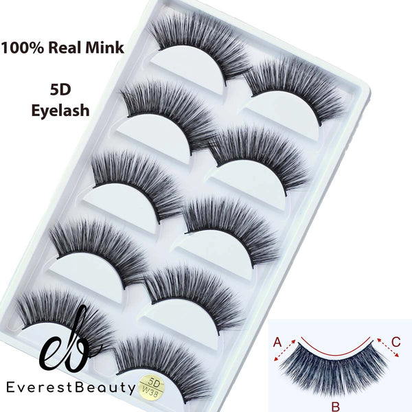 5 Pairs False Eyelashes Long Thick Natural Fake Eye Lashes Set Mink Makeup (W38)