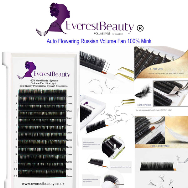 Russian Volume Auto Flourishing Lashes 0.05 100% Mink Eyelash Extensions CURL C D