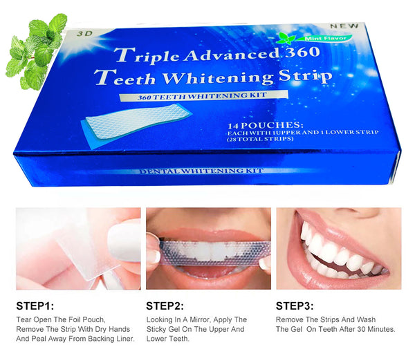 28 Strips Professional Teeth Whitening Safe Tooth Bleaching ICE White 14 Day