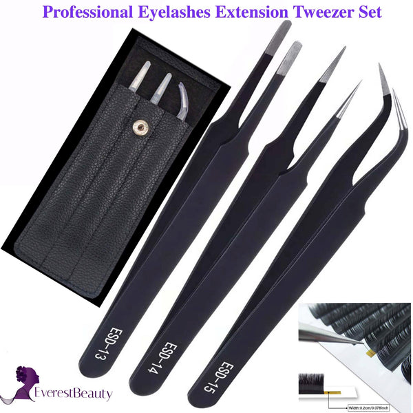 Individual Eyelash Extension Volume Tweezers 3 Pieces ESD13,14,15 Set With Bag