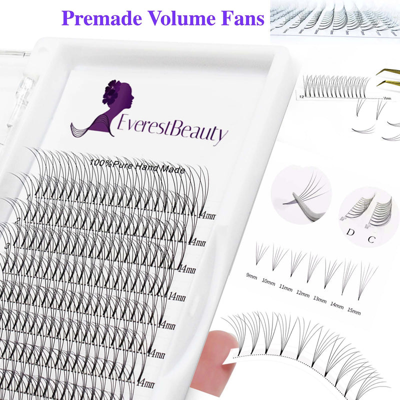 Pre made Russian Volume Fan Lashes 0.10 5D Mink Eyelash Extensions Curl D C