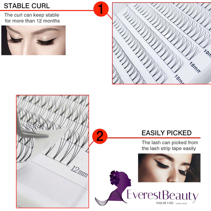 Pre made Russian Volume Fan Lashes 0.07 5D Mink Eyelash Extensions Curl D C