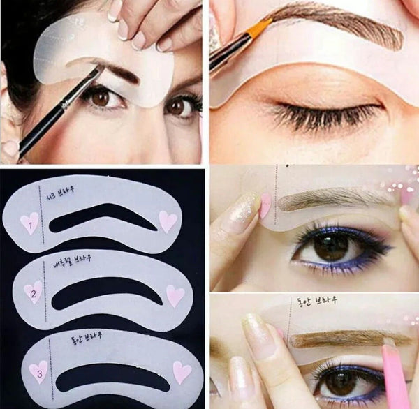 6 Eyebrow Stencils Shaper Grooming Kit Brow MakeUp Template Tool Reusable