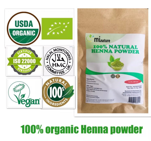 Pure Henna Natural Hair Colour Powder/ USD Organic/ISO22000