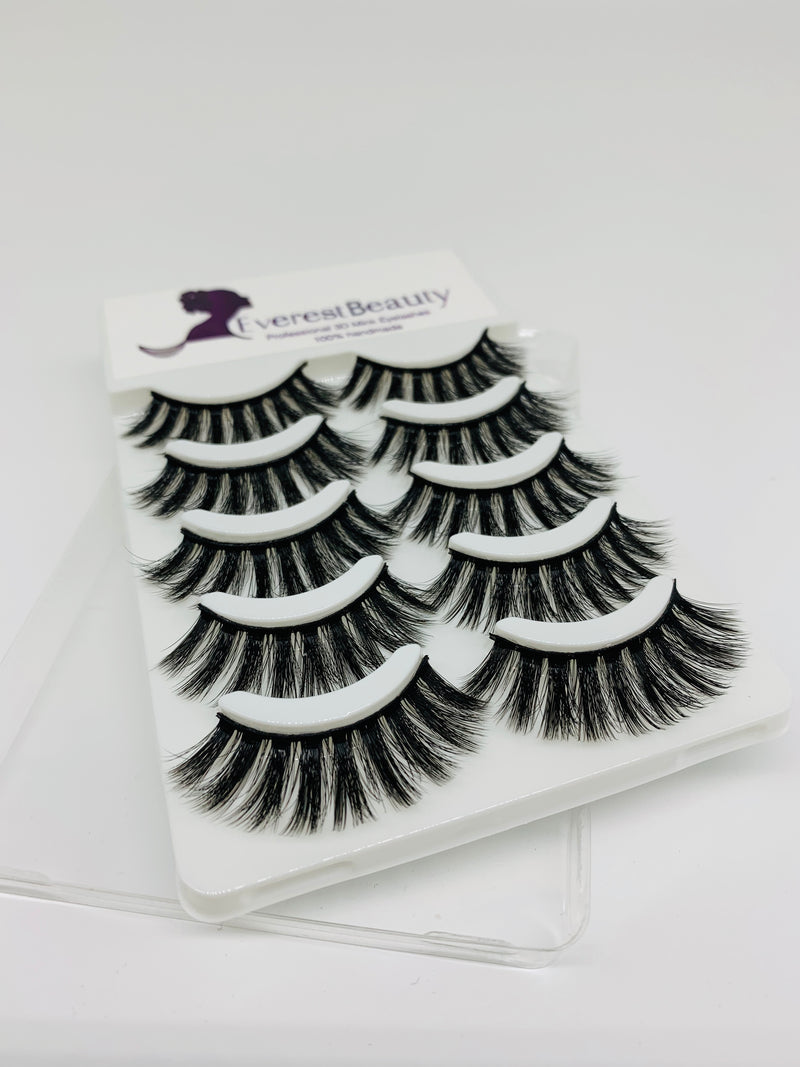 3D Mink False Eyelashes Wispy Cross Long Thick Soft Fake Eye Lashes 5 Pair