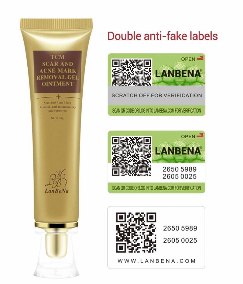 LanBeNA TCM Scar Acne Mark Removal Ointment Gel - Stretch Cut Burn Spots Marks