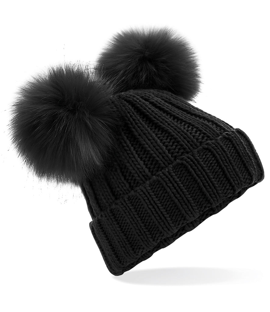 Womens Faux Fur Pom Pom Beanie (New)
