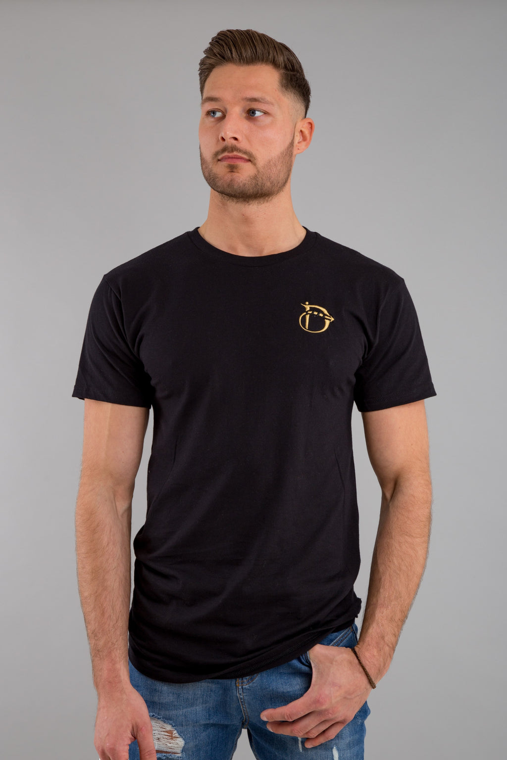 Identity Long Line Urban T-Shirt (Black & Gold) - Identity Apparel Clothing