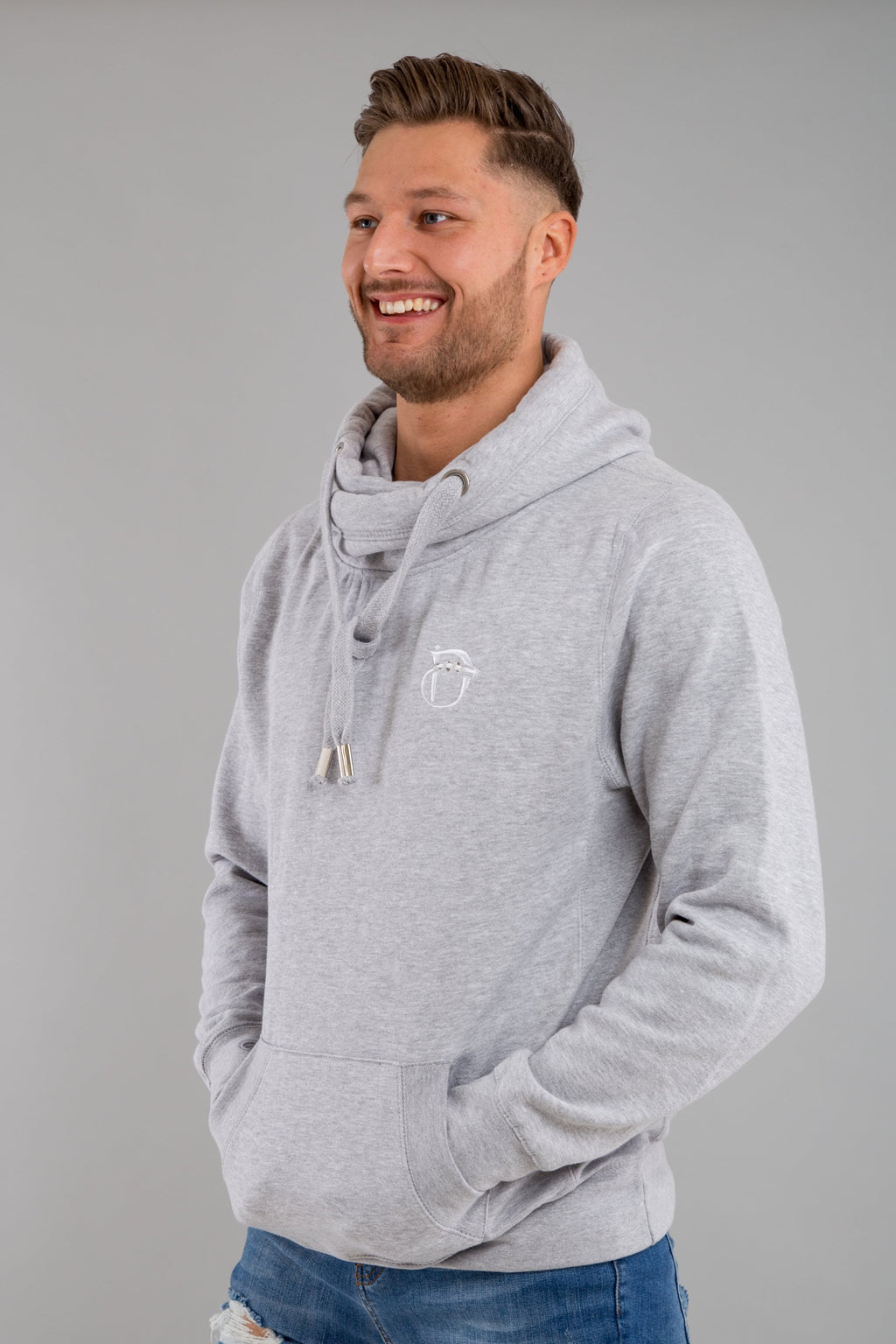 Identity Urban Cross Neck Hoodie (Light Grey) - Identity Apparel Clothing