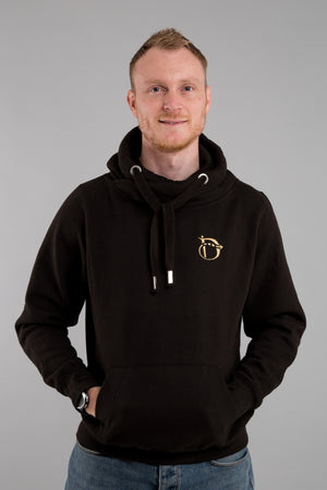 Identity Urban Cross Neck Hoodie (Black & Gold) - Identity Apparel Clothing