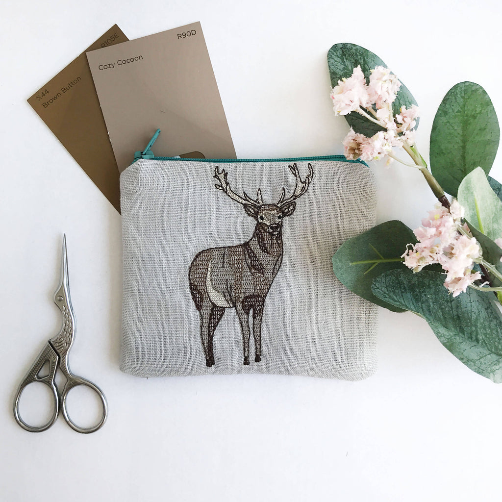 Pale Grey Embroidered Stag Purse