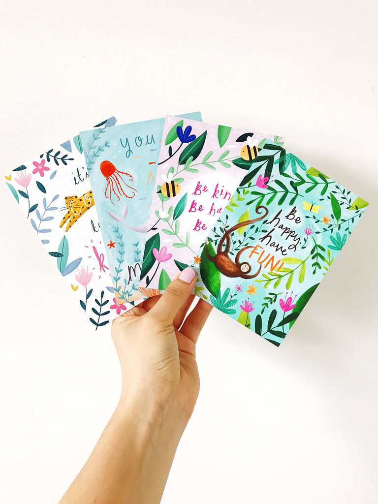 Positivity Postcard Prints Pack of 4