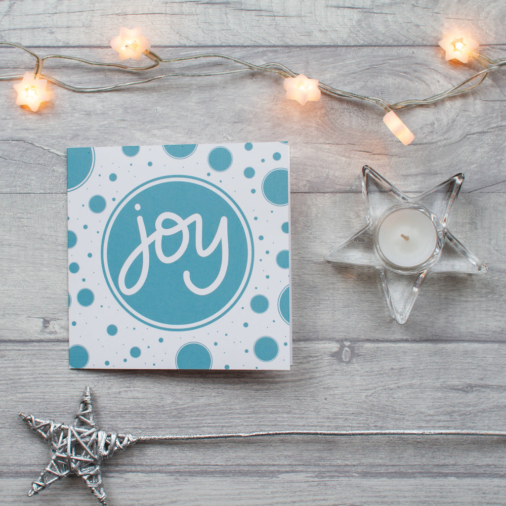 Large square Joy Christmas card - individual and 10 pack