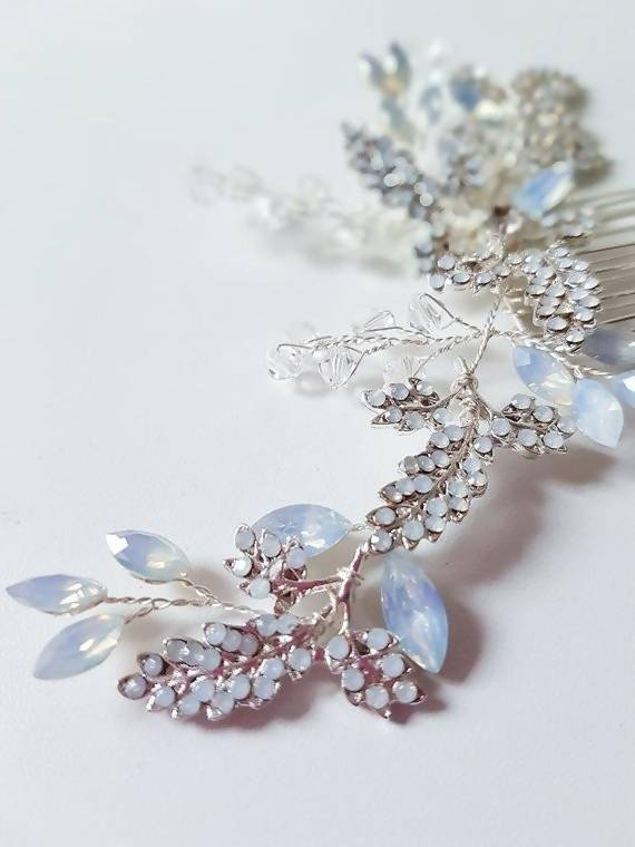 Blue crystal silver hairpiece Crystal Hairpiece comb silver blue comb wedding accessory bridal headpiece brides something blue accessory