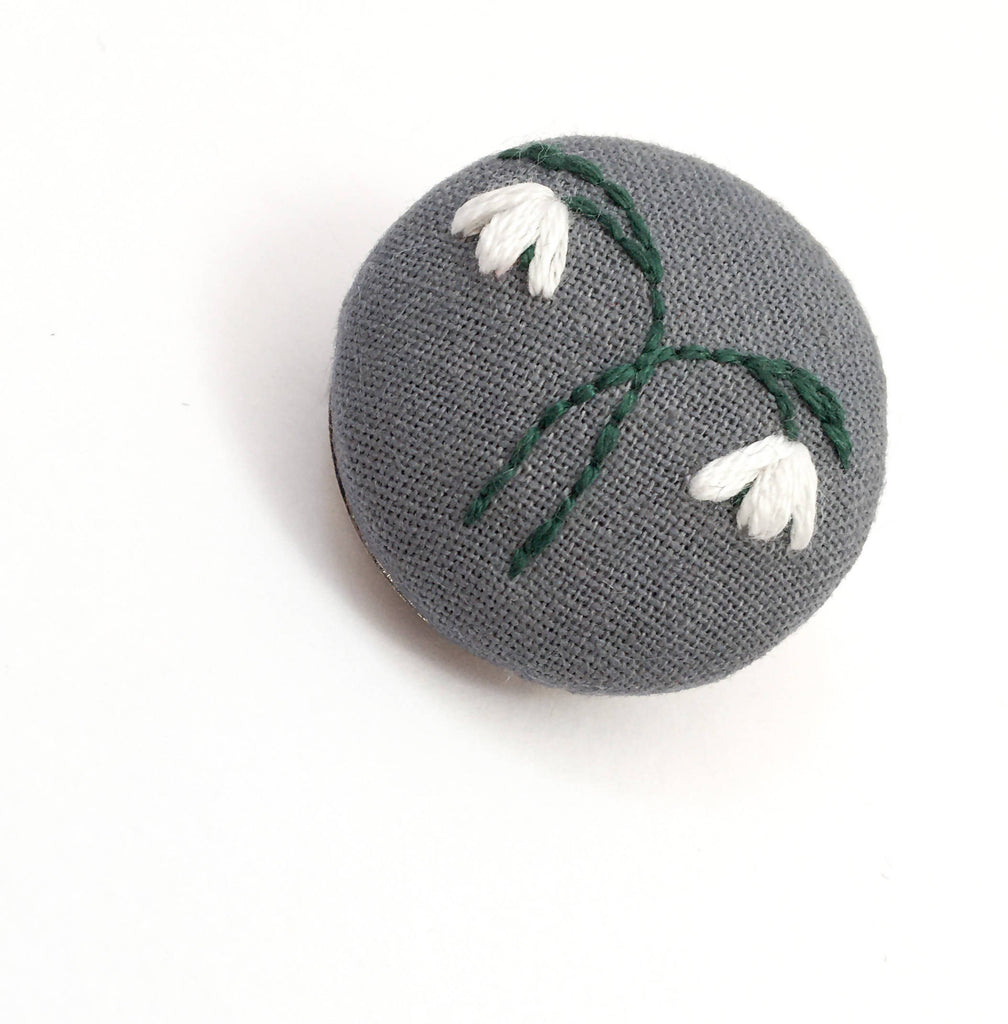 Embroidered Snowdrop Brooch