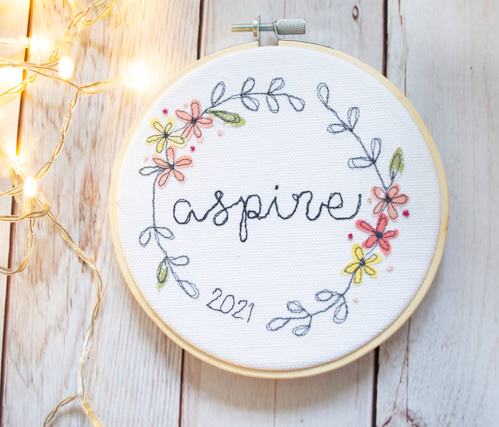 Embroidered Word of the Year 5-inch Hoop Wall Art - Embellished with floral appliques and french knots