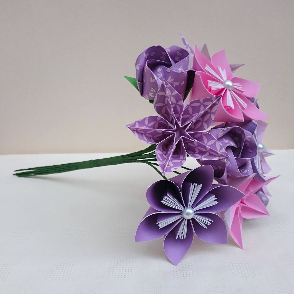 Pink and purple origami flower bouquet