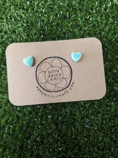Ceramic heart stud earrings - Small - Turquoise