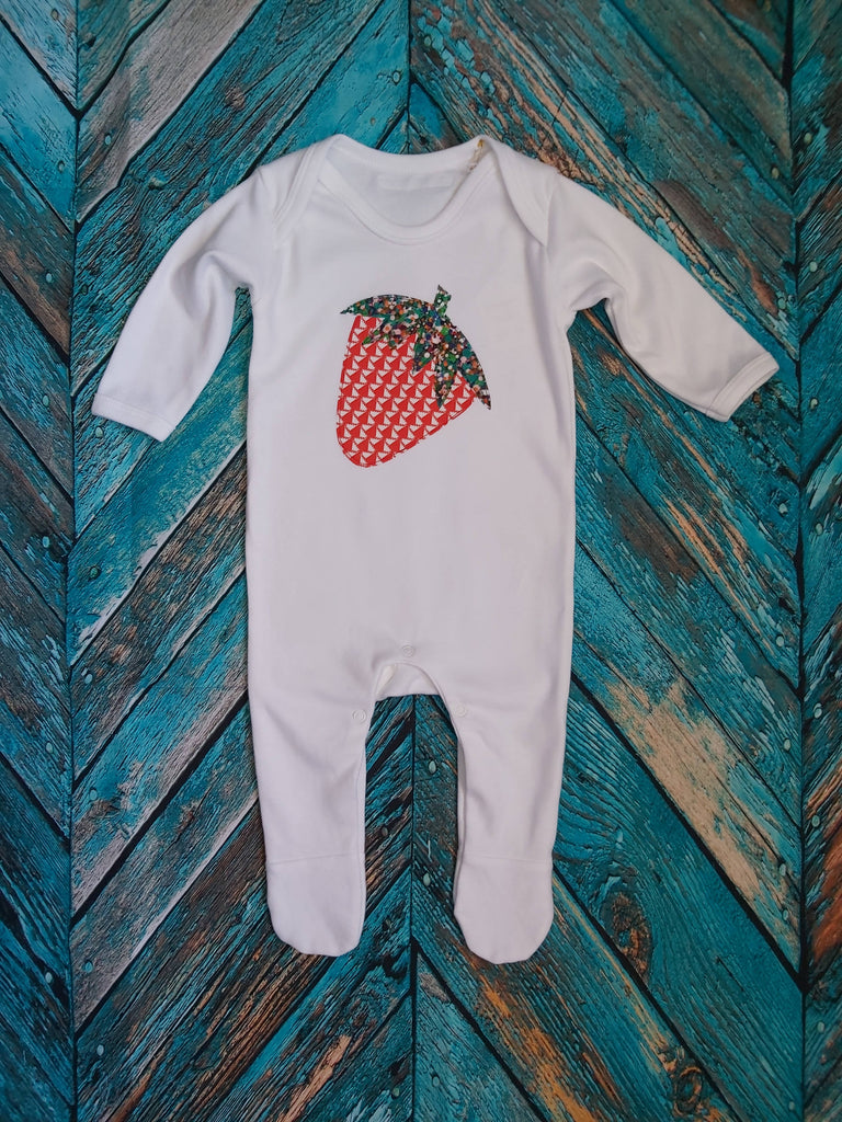 STRAWBERRY organic cotton appliqué white romper