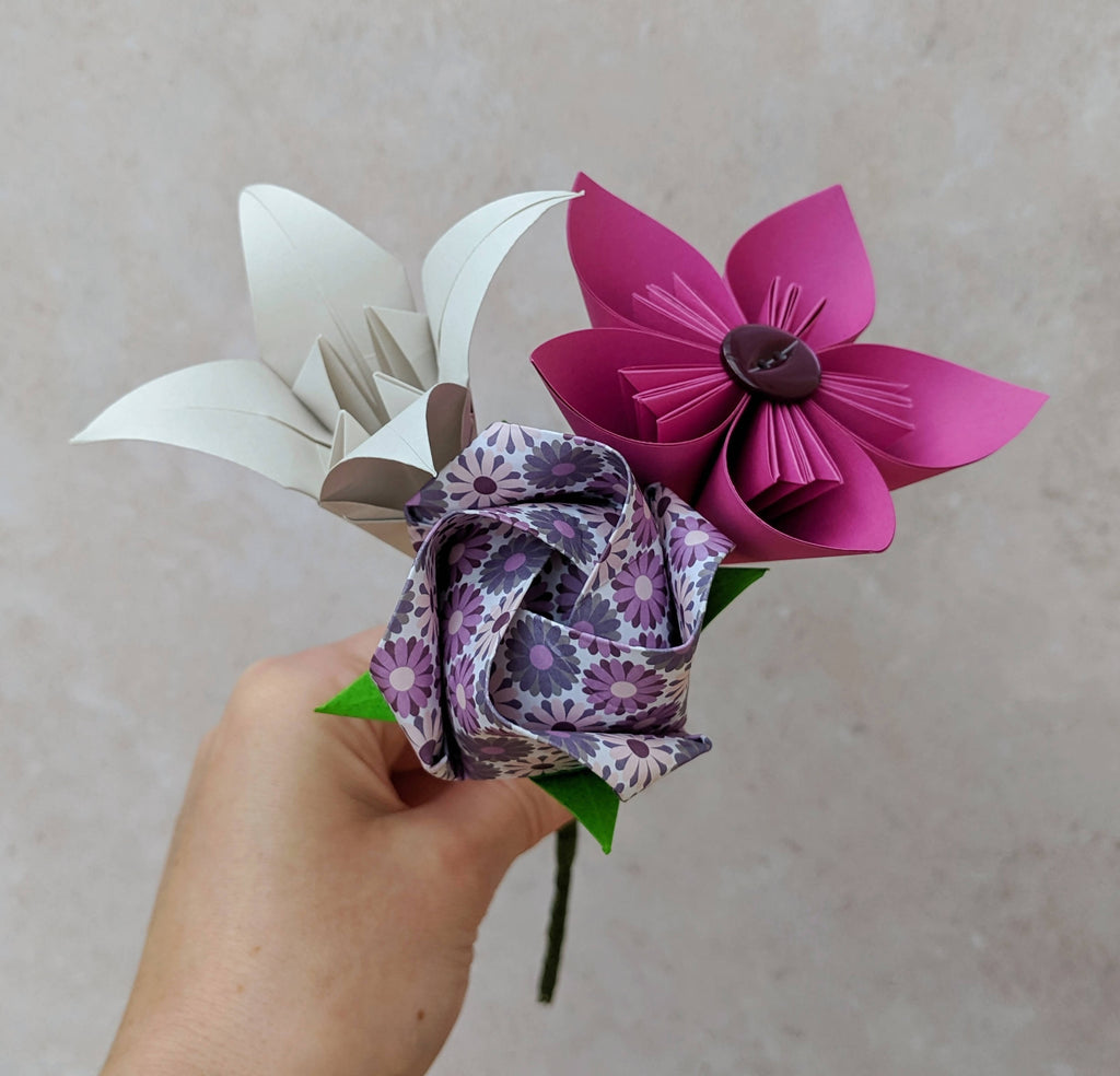 Pink and purple origami mini bouquet, teacher gift