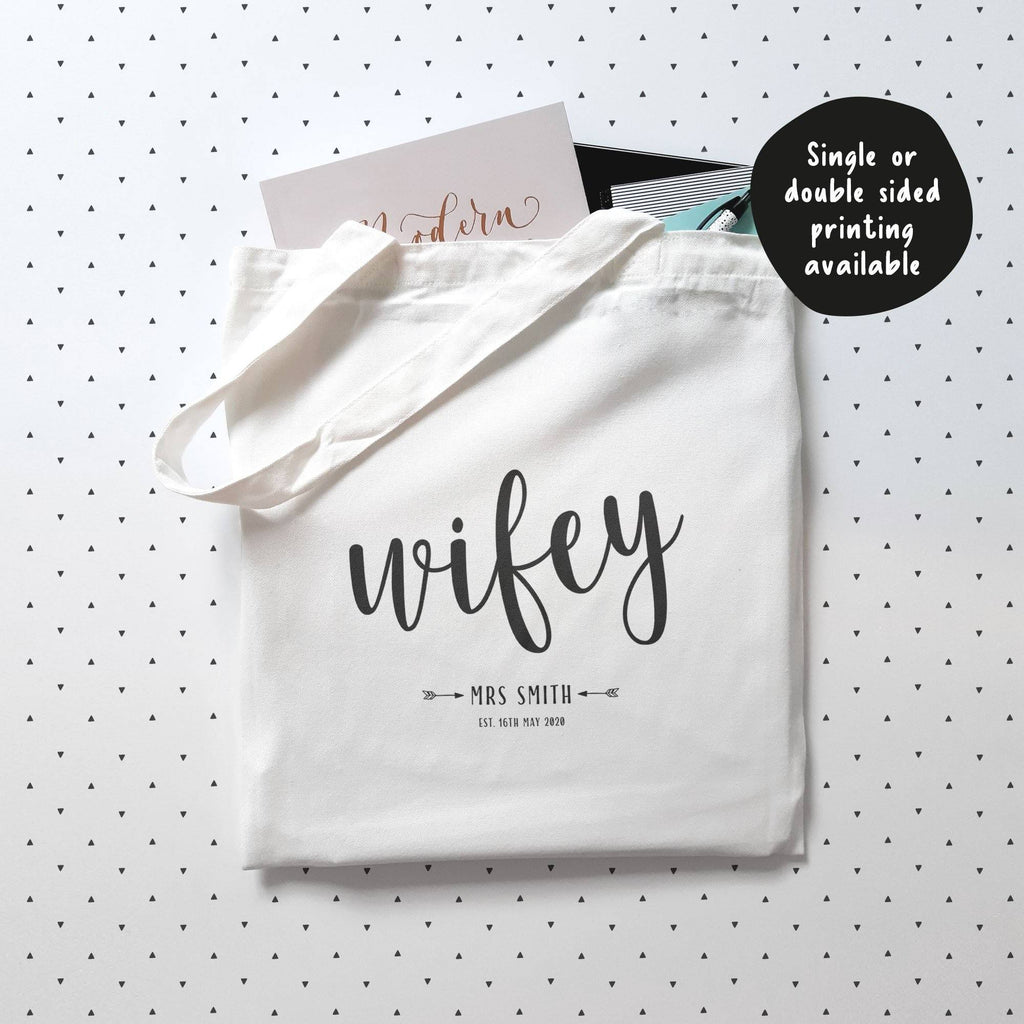 Personalised Wifey Cotton Tote Bag