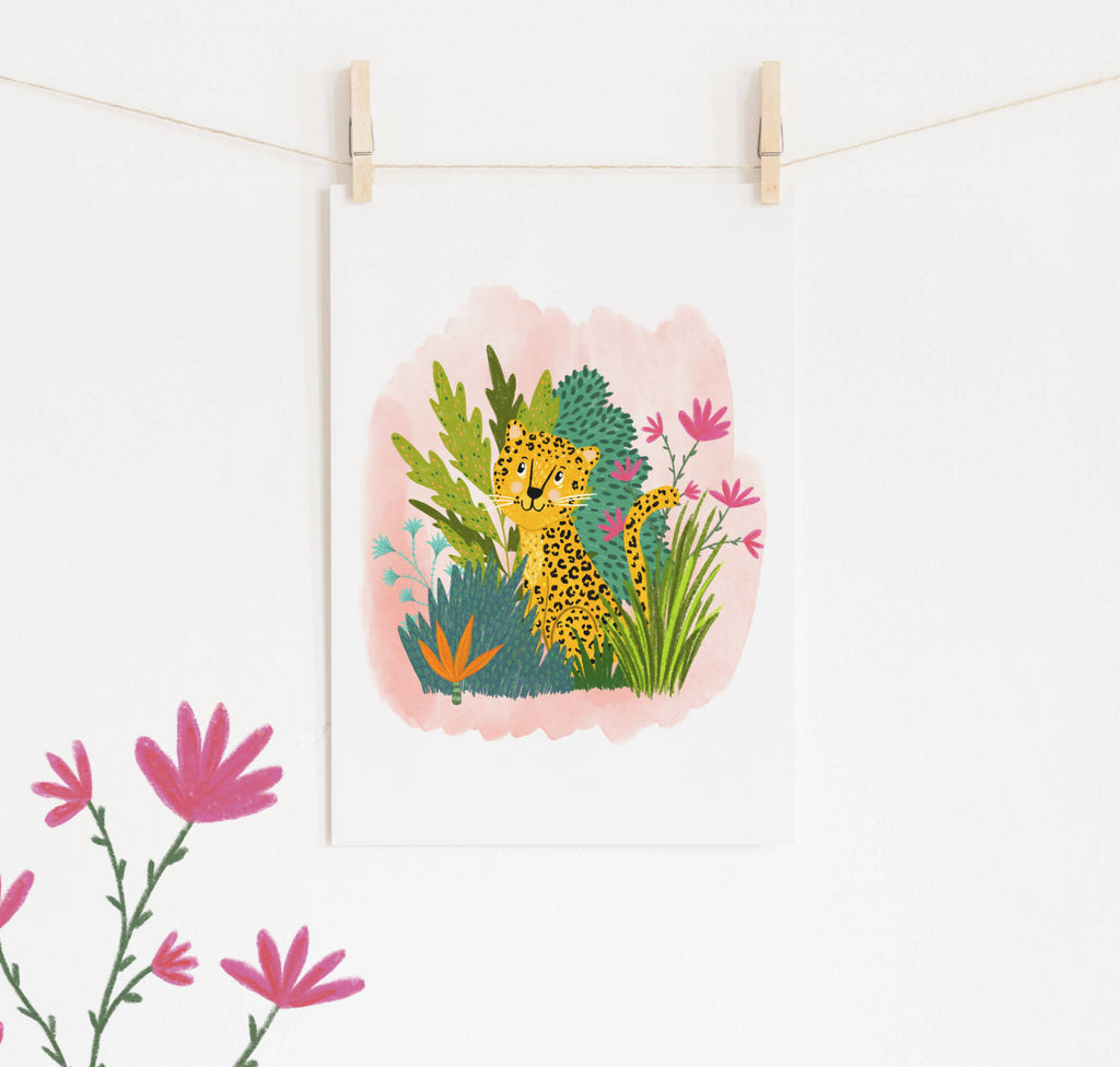 Leopard Jungle Illustration Print