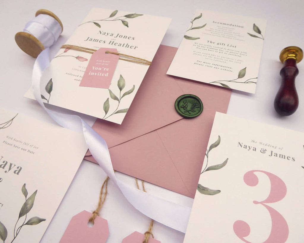 Delicate Dusky Pink and Green Floral Wedding Invitations // Sample Pack // Summer Wedding // Vellum // Any Colour Invitations // Foliage