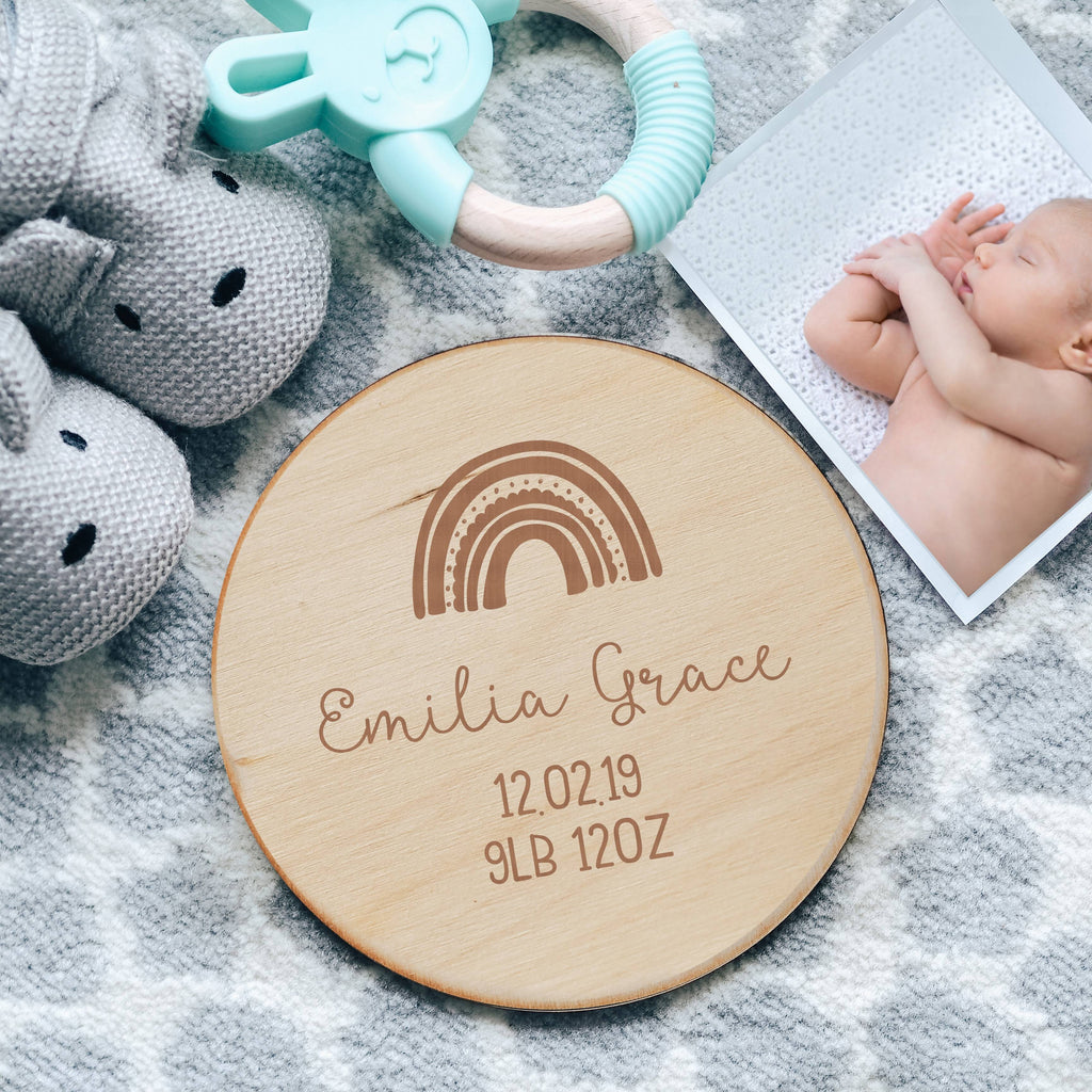 Rainbow Baby Birth Announcement Wooden Sign with DOB and Weight
