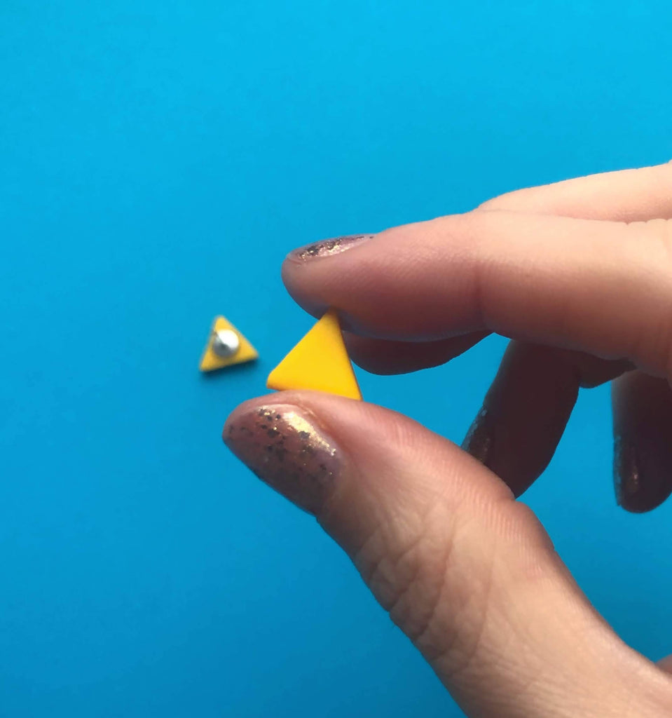 Yellow triangle clay earrings