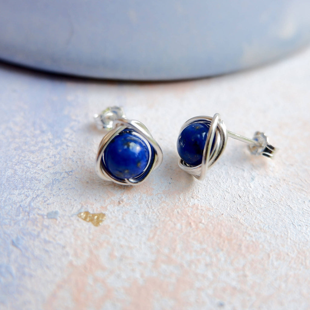 Silver Lapis Lazuli Blue Stud Earrings