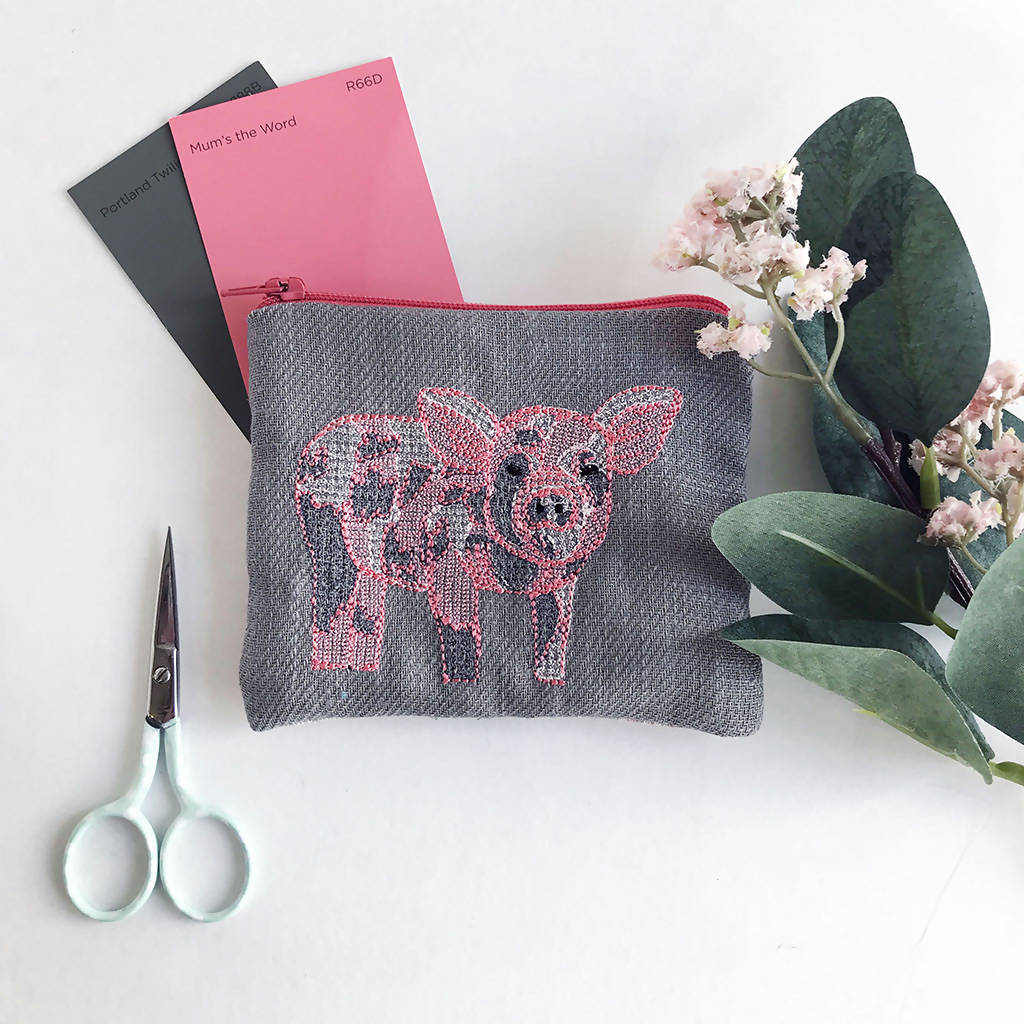 Grey Embroidered Pig Purse