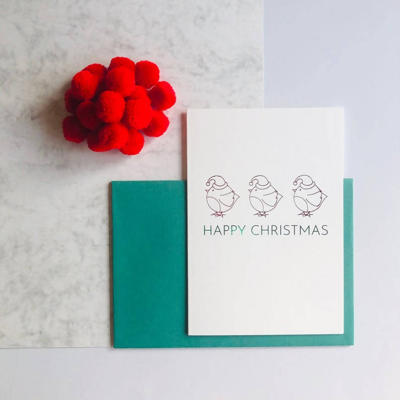 Single or Packs of Robin Charity Foiled Christmas Card