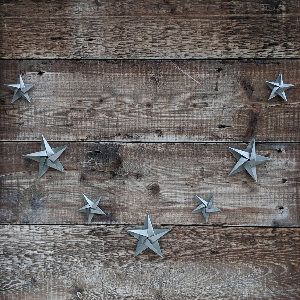 silver origami paper star garland