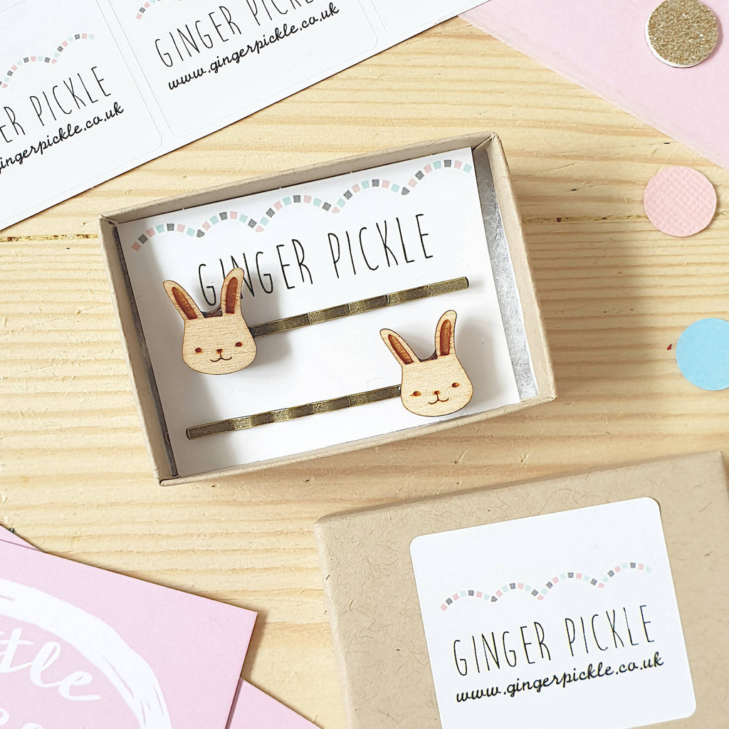 Laser Cut Wooden Bunny Hair Slides; Necklace, Earrings, Hair Slides, Brooch, Ring-Ginger Pickle