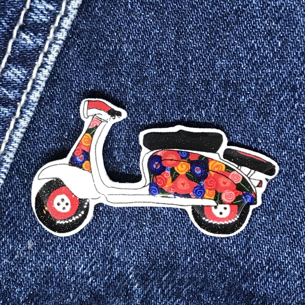 Floral Scooter/Moped - Pin Badge - Handmade