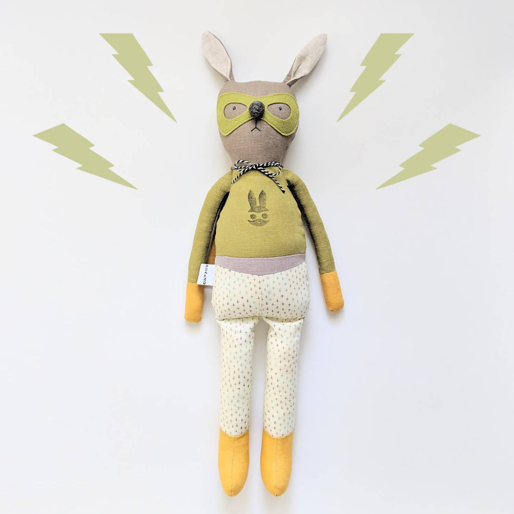 Superhero bunny rabbit doll linen rag doll