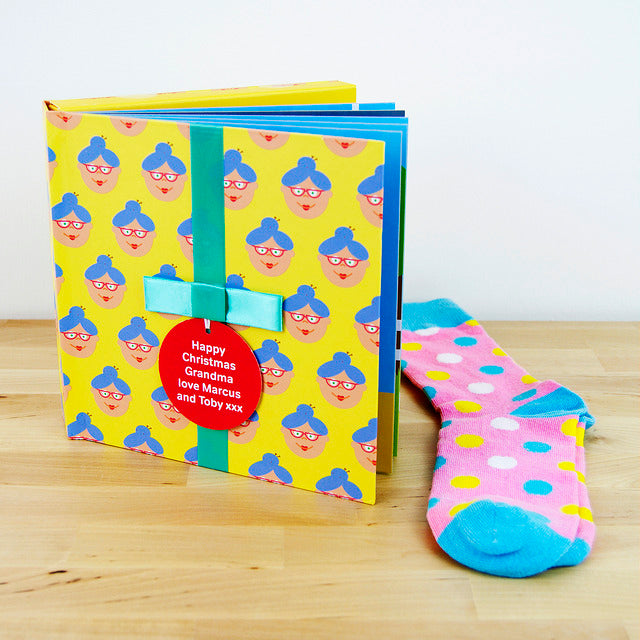 Grandma Gift Book With Socks & Personalised Tag. FREE SHIPPING.