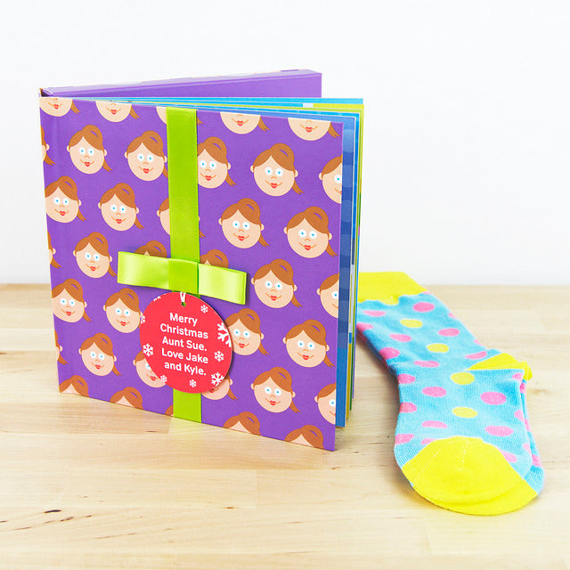 Aunt Gift Book With Socks & Personalised Tag - Present for Her. FREE SHIPPING