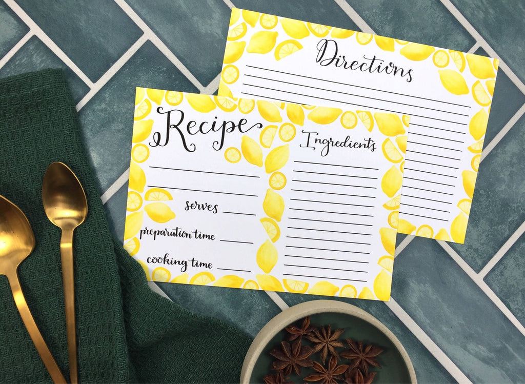 Set of Recipe Cards illustrated with Lemons