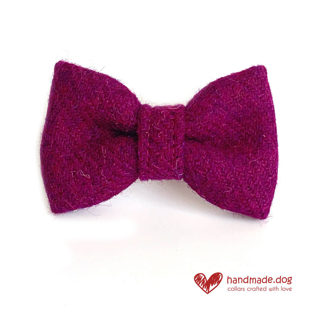 Rich Plum 'Harris Tweed' Dog Bow Tie