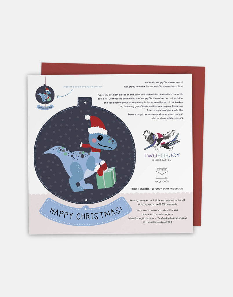 Have a Roarsome Christmas - Christmas Greeting Card with Cut-Out Crafty Activity